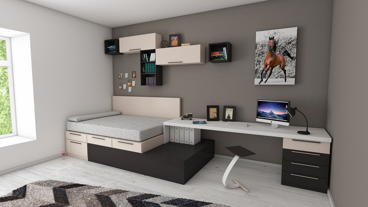Bedroom painted with grey wall. and white ceiling