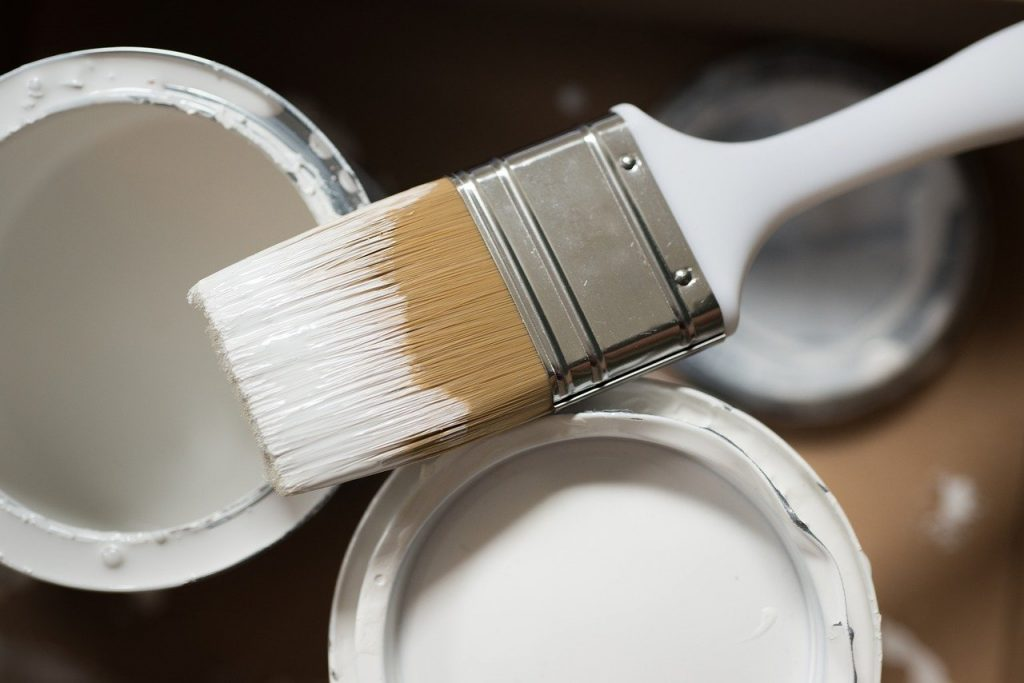 paint brush, painting supplies, white paint